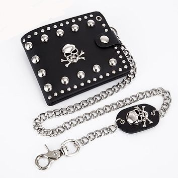 Punk Gothic Skull Men's Wallet With Chain