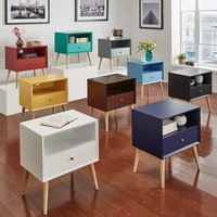 MID-CENTURY LIVING Marin Danish Modern 1-drawer Storage Accent Side Table in Yellow(As Is Item) | Overstock.com Shopping - The Best Deals on As Is
