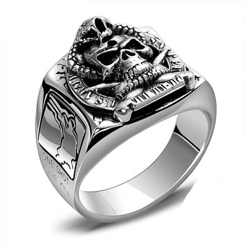 Punk Rock Skull US Army Soldier Sniper Ring Sterling Silver