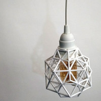 Pendant, Pendant light, plug in, 3D printed, industrial, lighting, hanging, hanging lamp, geometric design, polygon, vintage Edison bulb