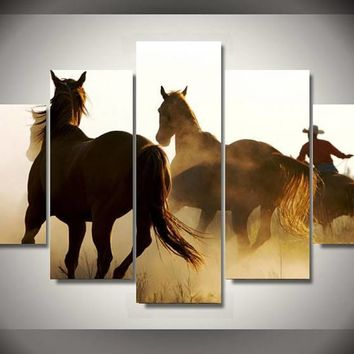 Hd Printed Cowboys Horses Group Painting Canvas Print Room Decor