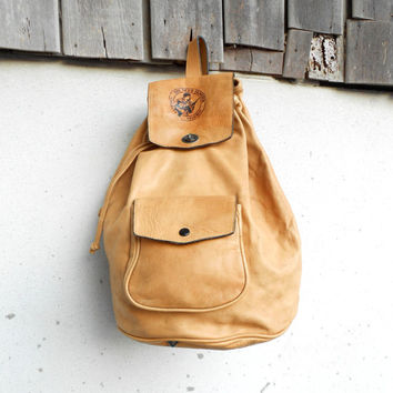 Vintage Tan Leather Crossbody Backpack , Sling Backpack // Medium