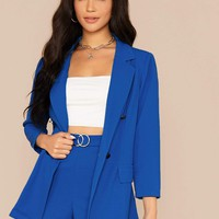 Notch Collar Solid Blazer and O-ring Detail Shorts Set