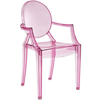 Philippe Starck Style Louis Ghost Arm Chair Clear Pink