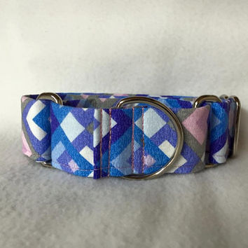 "Boxed In Purple Martingale or Quick Release Collar 5/8"" Quick Release 3/4"" 1"" Martingale Collar, 1.5"" Martingale 2"" Patchwork"