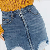 Rolling Stone Jean Skirt - Medium Wash Denim