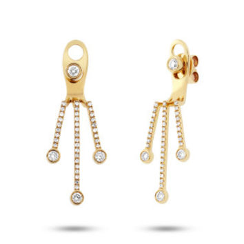 0.48ct 14k Yellow Gold Diamond Ear Jacket Earring with Studs