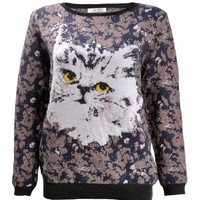 ZLYC Women's Cute Cat Casual Pullover Jumper Aniaml Print Sweater