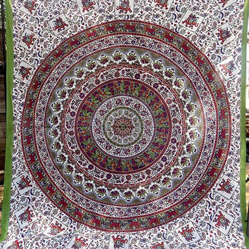 LARGE elephant indian tapestry, hippie mandala wall hanging, boho bohemian bedding throw indian bedspread, ethnic wall decor