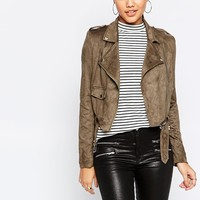 Missguided Suedette Biker Jacket