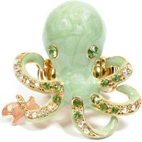 Oversize Octopus Ring Enameled Bejeweled with Crystals Stretch Band (Jade)