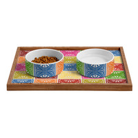 Natalie Baca Fiesta Patchwork Pet Bowl and Tray
