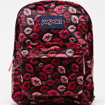 JanSport High Stakes Black Plush Lips School Backpack - Womens Backpack - Black - One