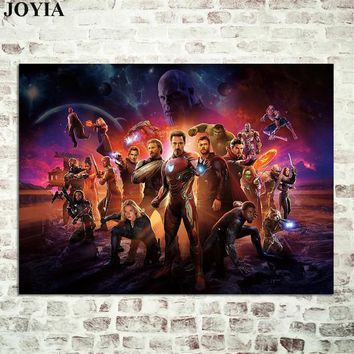Avengers Infinity War 2018 Movie Poster, Superheroes Wall Poster, Bedroom Decoration Canvas Art, Large Size