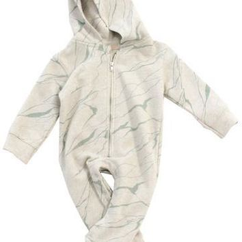 TinyCottons Fleece Marble Baby Jumpsuit