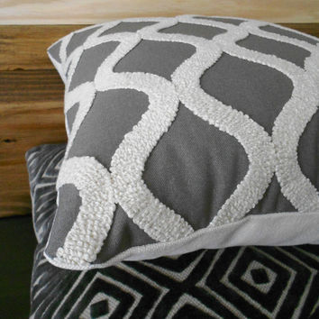 Gray and cream tufted trellis throw pillow by pillowflightpdx