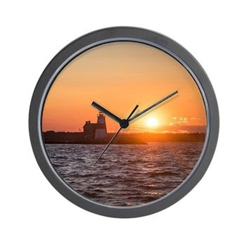 SUNSET AT EXECUTION ROCK LIGHTHOUSE WALL CLOCK