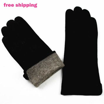 Female gloves suede leather gloves straight style sheepskin gloves wool lining spring and autumn Keep warm free shipping
