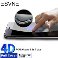 FREE SHIPPING TO USA - ESVNE 9H Hardness 4D Curved Edge Full Cover Tempered Glass for iphone 6 glass iPhone 7 Glass 6s 7 plus Screen Protector film