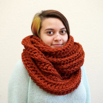 oversized scarf, hood scarf, crochet hood, ribbed scarf, orange scarf, chunky cowl, burnt orange, infinity scarf / THE FELIX / Spice