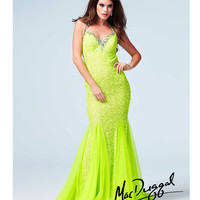 Mac Duggal 76562A Neon Lime Stone & Sequin Embellished Halter Cut Out Mermaid Gown 2015 Prom Dresses