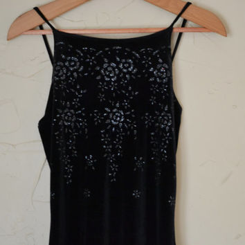 Vintage 90's Dress Black Crushed Velour Dress Sexy Fitted Dress Maxi Velour Dress Hipster Grunge Goth 90's Vixen Halter Dress Size XS Small