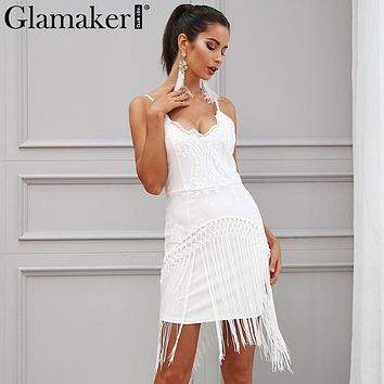 Glamaker Sequin fringe tassel sexy sundress V neck slim bodycon summer dress women Backless embroidery mini wrap party dress