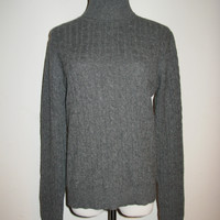 AQUA Cashmere Cable Knit Turtle Neck Sweater L