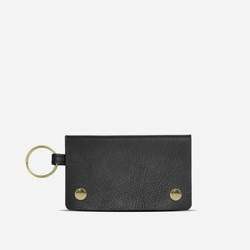 Small Keychain Wallet  Vegetable Tanned Black