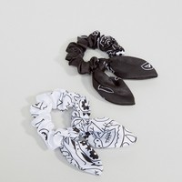 ASOS Pack of 2 Mono Bandana Hair Scrunchies at asos.com
