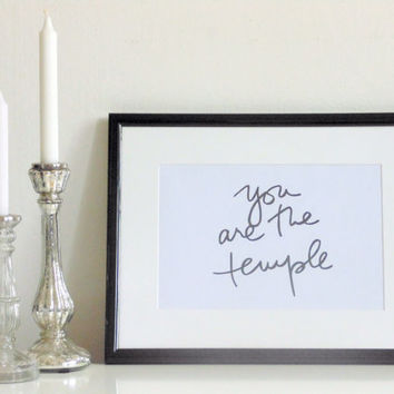 You are the temple - black on white - DIN A4 - Wall Art Print Quote handmade written - original by misssfaith