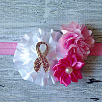 Breast Cancer Awareness Headband - Pink Baby Headband with Pink Rhinestone Ribbon - Baby Girl Accessories - Breast Cancer Headband