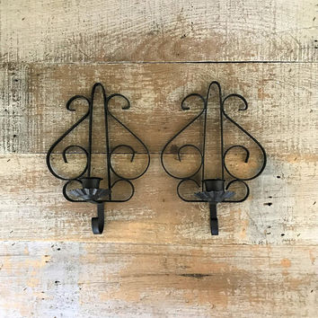 Candle Sconces Rod Iron Wall Candle Holders Hollywood Regency Double Candlestick Holder Wall Mount Black Sconce Ornate Iron Candle Holder