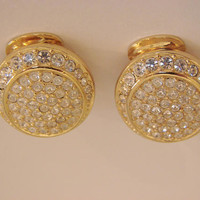 Vintage Christian Dior Rhinestone Gold Tone Earrings * Designer Signed * Clip-On * Wedding Bridal  * Jewelry * Jewellery