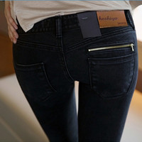 Vintage Black Denim Pencil Jeans
