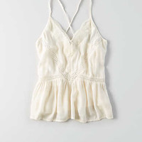 AEO Ruched Swing Tank , Cream