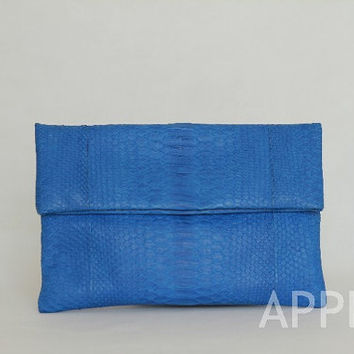 Romance Genuine Exotic Python Convertible Clutch in Blue