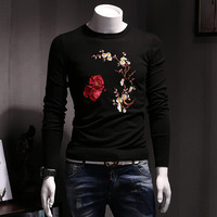 Menswear Hombre Floral Sweaters and Pullovers Men's Casual Slim Fit Long Sleeved O Neck Knitted Sweaters Men BL