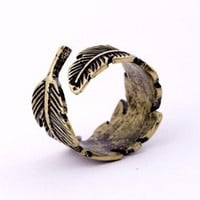 Cute Vintage Adjustable Leaf Ring = 1651279684