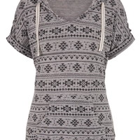 Knit Ethnic Print Short Sleeve Pullover With Hood - Gray
