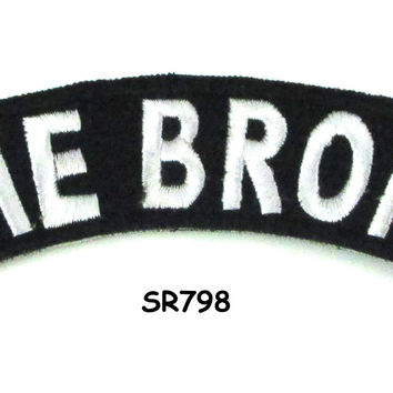 The Bronx White on Black Small Rocker Iron on Patches for Biker Vest and Jacket