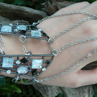 geometric gothic slave bracelet geometric gemstones corsett chains in steampunk goth fantasy boho and  gypsy style