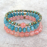African Turquoise, Blue jade and Strawberry quartz bracelet stack