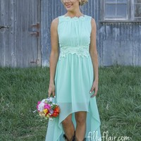 Romance in High-Low Bridesmaid in Mint -Pre-Order