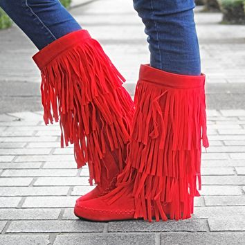 The Melissa Fringe Boots - Red