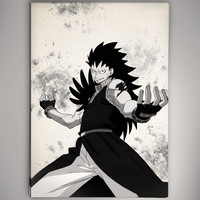 Fairy Tail Gajeel Watercolor illustrations Print Wall Art Poster Giclee Wall Anime Art Home Decor Wall Hanging Modern Geek Multi Size n656