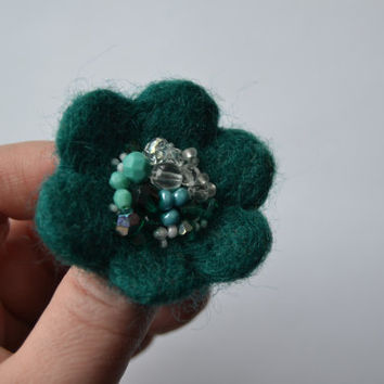 Little Needle Felted Brooch Dark Teal Wool Felt Flower, Small Felt Flower Pin,Flower Brooch, Felted Flower,Corsage Brooch,Woolen Brooch