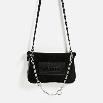 LEATHER CROSSBODY BAG WITH TEXT DETAILS
