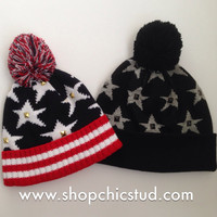 Studded Pom Pom Beanie - Stars & Stripes Beanie Hat - American Flag - Gold, Silver, or Black Studs