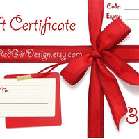 Gift Certificate for RedGirl Design Gift Card Gift Voucher 30 Dollars